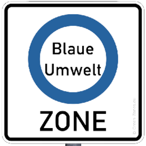 Road sign Blue Environment Zone